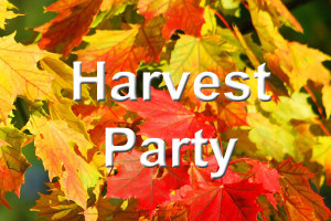"The words ""Harvest Party"" written over fall leaves"