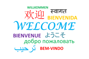 """Welcome"" in multiple languages"